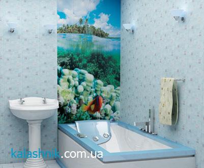Пример отделки стен ванной комнаты пластиковыми панелями