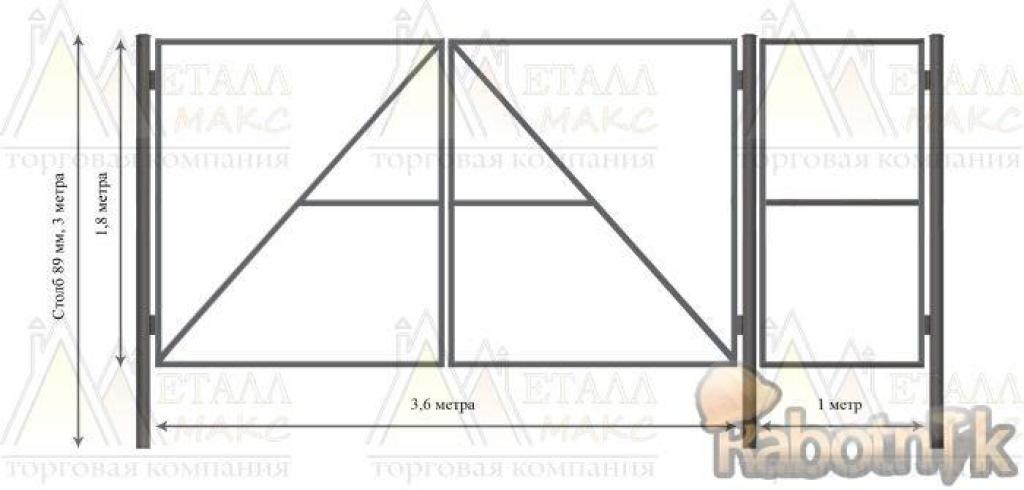 Как сделать ворота в гараж из профильной трубы 154