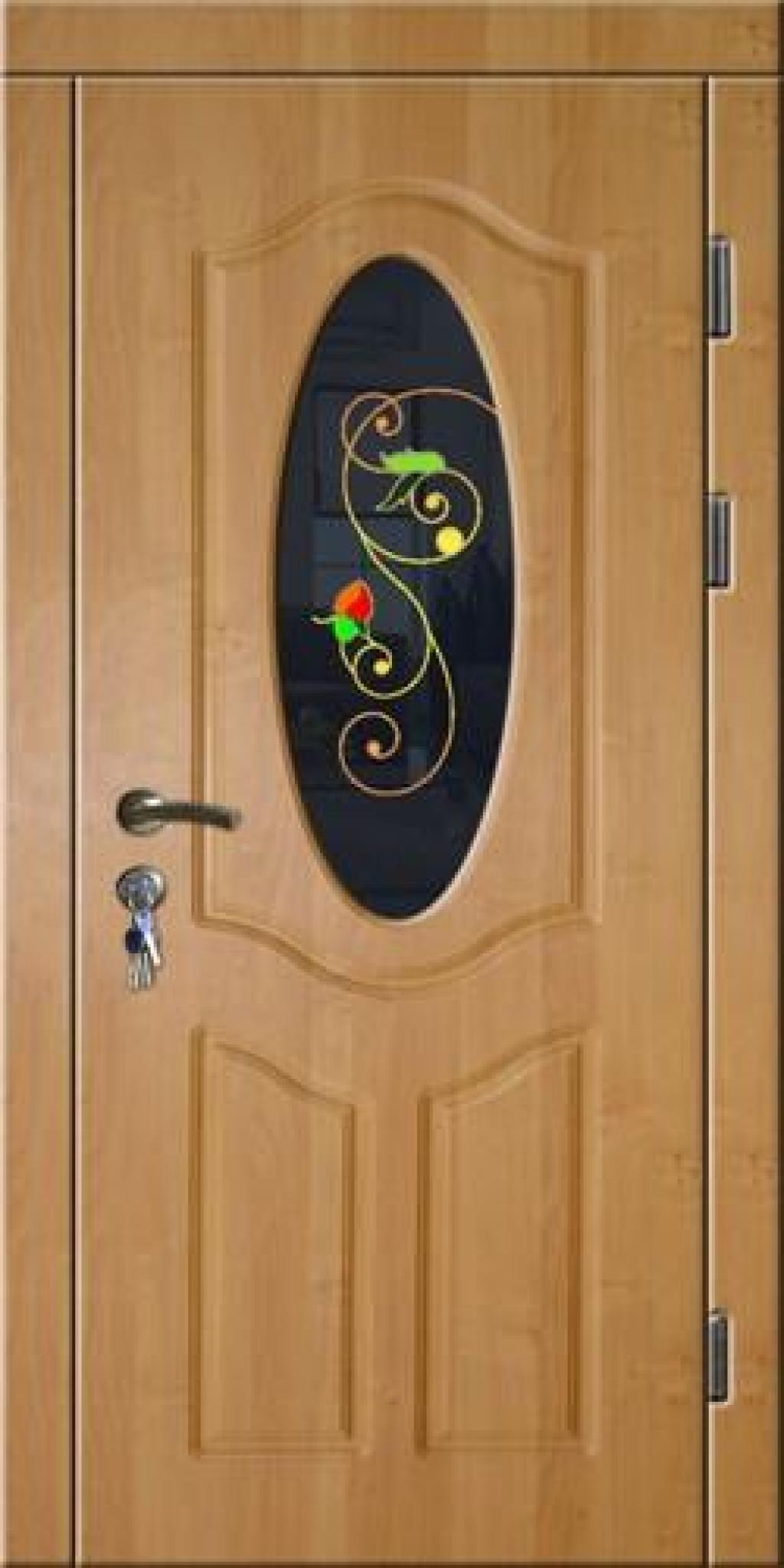 металлические двери с внутренней отделкой витражом