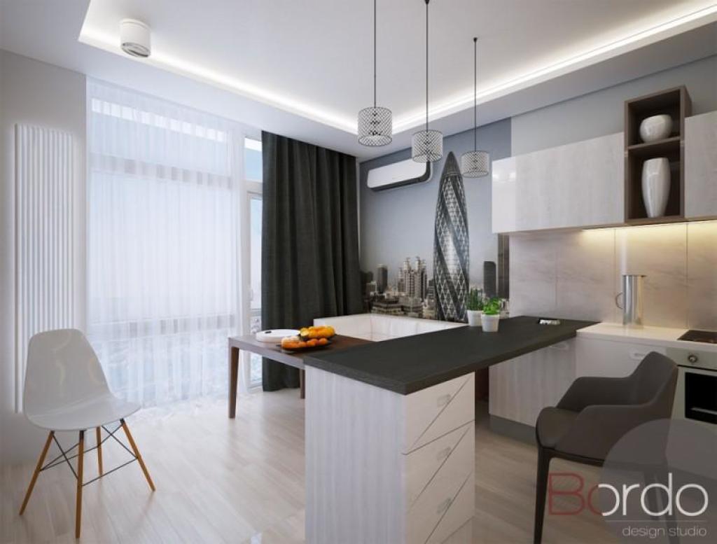 Кухня студия 17 кв м дизайн