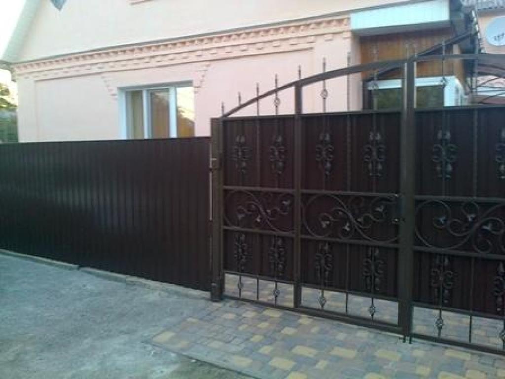 Ворота из профнастила с калиткой копейск цена ворота комплектующие для откатных ворот тамбов